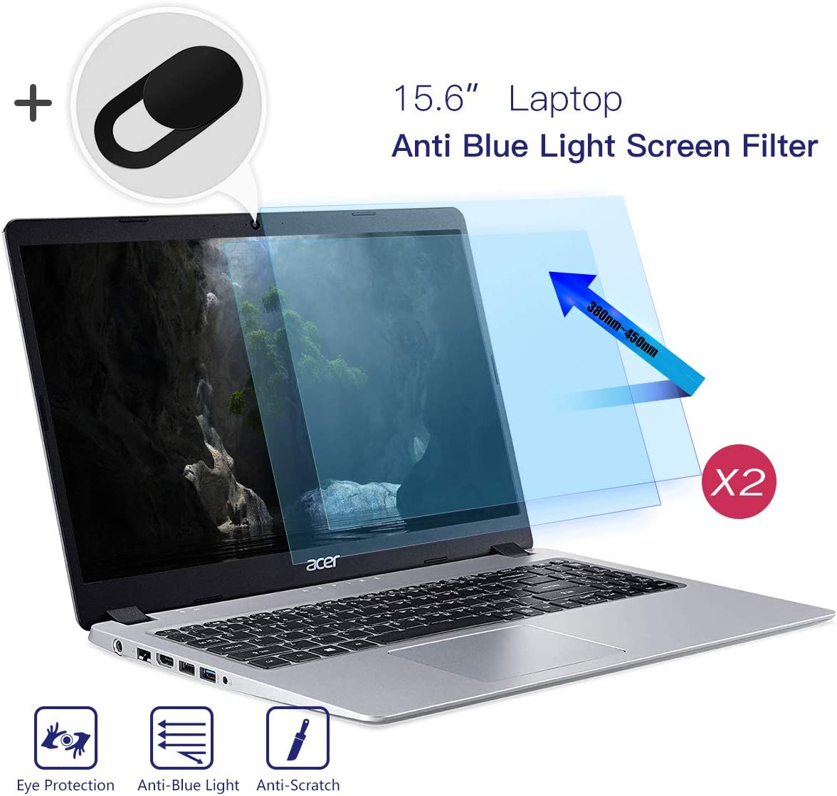2 Pack 15.6 Inch Laptop Screen Protector, Anti Blue Light Anti Glare Eye Protection Filter Blue Light Blocking Screen Protector for All 15.6 Inch HP/Dell/Acer/Asus/Lenovo Laptop with Webcam Cover