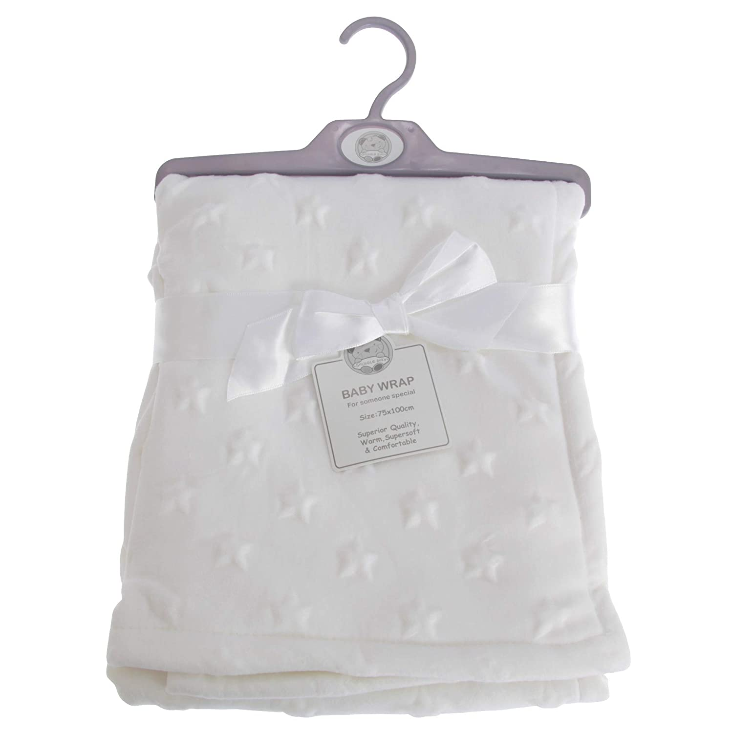 Snuggle Baby Star Embossed Baby Wrap (75 x 100cm) (White)