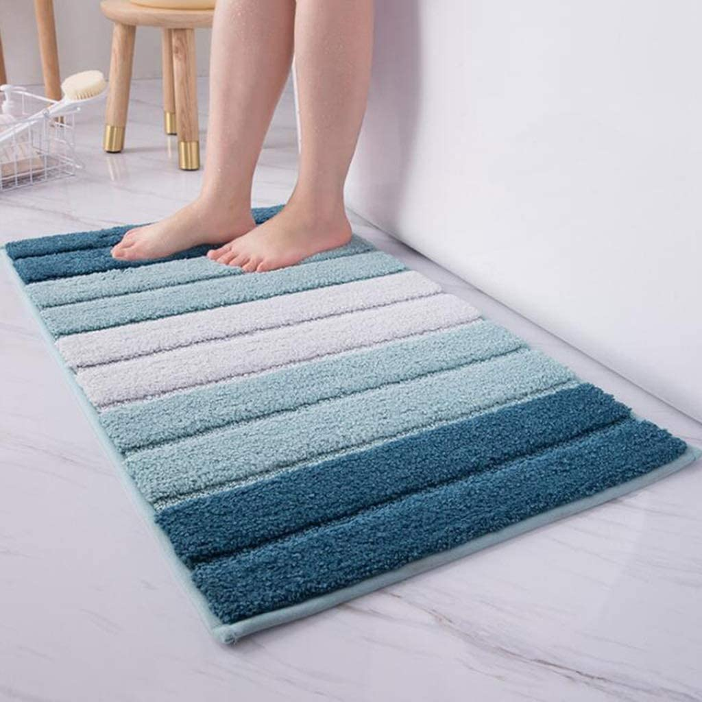CarPet Simple Striped Bedroom Entry Mat Car Bathroom Anti-Skid Absorbent Mat Color : Blue, Size : 4671cm