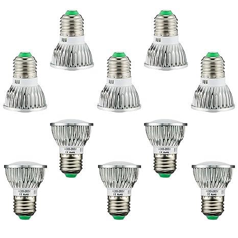 BLOOMWIN 10PCS Lámpara de Planta Bombilla LED 5W E27 28pcs SMD5730 AC85-265V Lámpara de