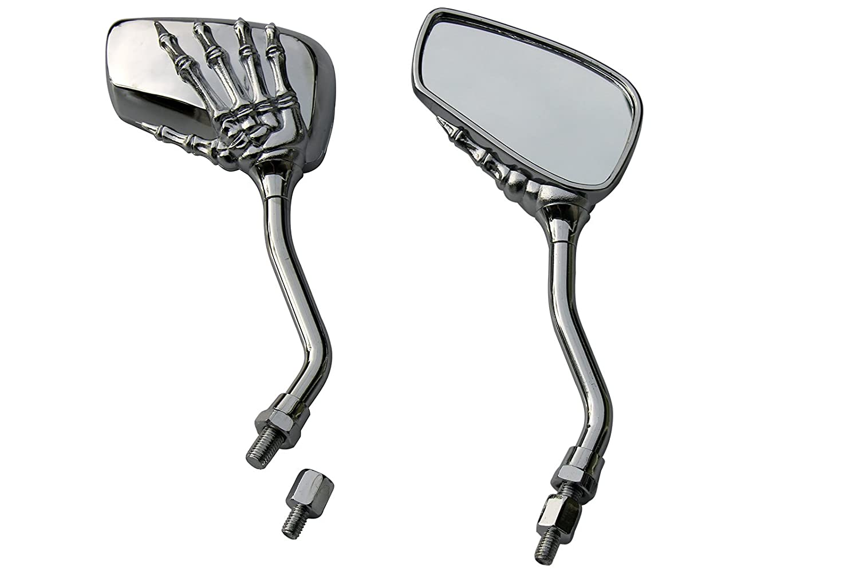 CHROME SKULL HAND SKELLINGTON REARVIEW MOTORCYCLE MIRRORS FOR 2010 Honda Fury VT1300CXA ABS MotorToGo