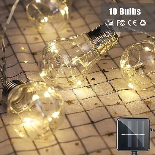 FONCBIEN Solar Luz Cadena - 5M 10 Bombillas Luces Solares Jardín Decoración Cobre Alambre Luces De Hadas Impermeable 8 Modos Luces Solares De La Secuencia Del Bulbo Al Aire Libre Del Globo: