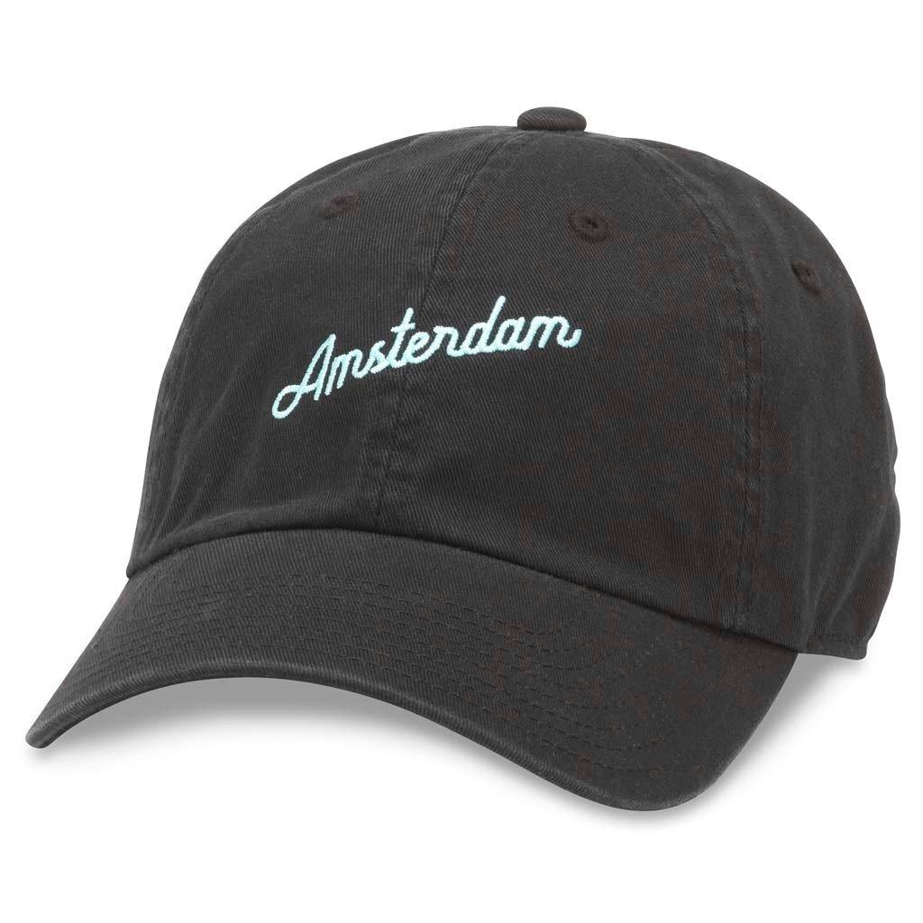 43300A-AMST American Needle Board Shorts Casual Baseball Dad Hat Amsterdam Black