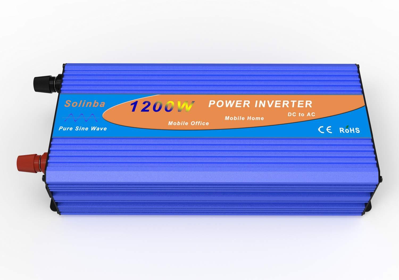 Solinba Wechselrichter Spannungswandler Power Inverter 1200w Pure Sine Wave Off Grid Peak 2500w Converter DC12v to AC230v 50Hz (DC12V)