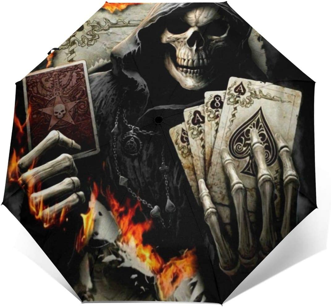 Skull Death Playing Cards Umbrella Auto Open And Close Sun UV Protection Waterproof Foldable Compact Windproof Parasol Automatic Rain Umbrellas