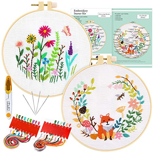 Caydo 2 Sets Full Range of Embroidery Starter Kit with Instructions, Cross Stitch Kit Including 2 Embroidery Clothes with Floral Animal Pattern, Embroidery Hoops, Color Threads and Tools