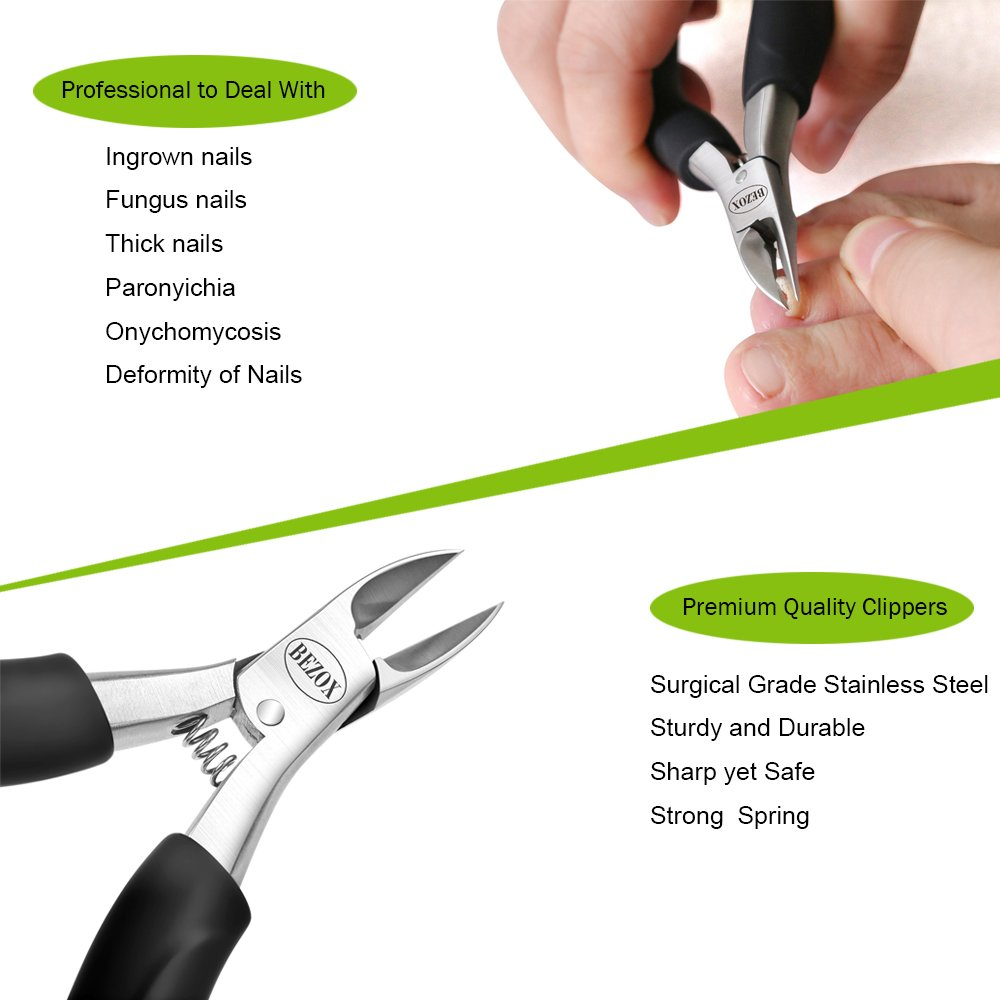 BEZOX Alicates Cortaúñas de Precisión para uñas Gruesas con Hongos o Incrustadas con Estuche de Metal: Amazon.es: Belleza