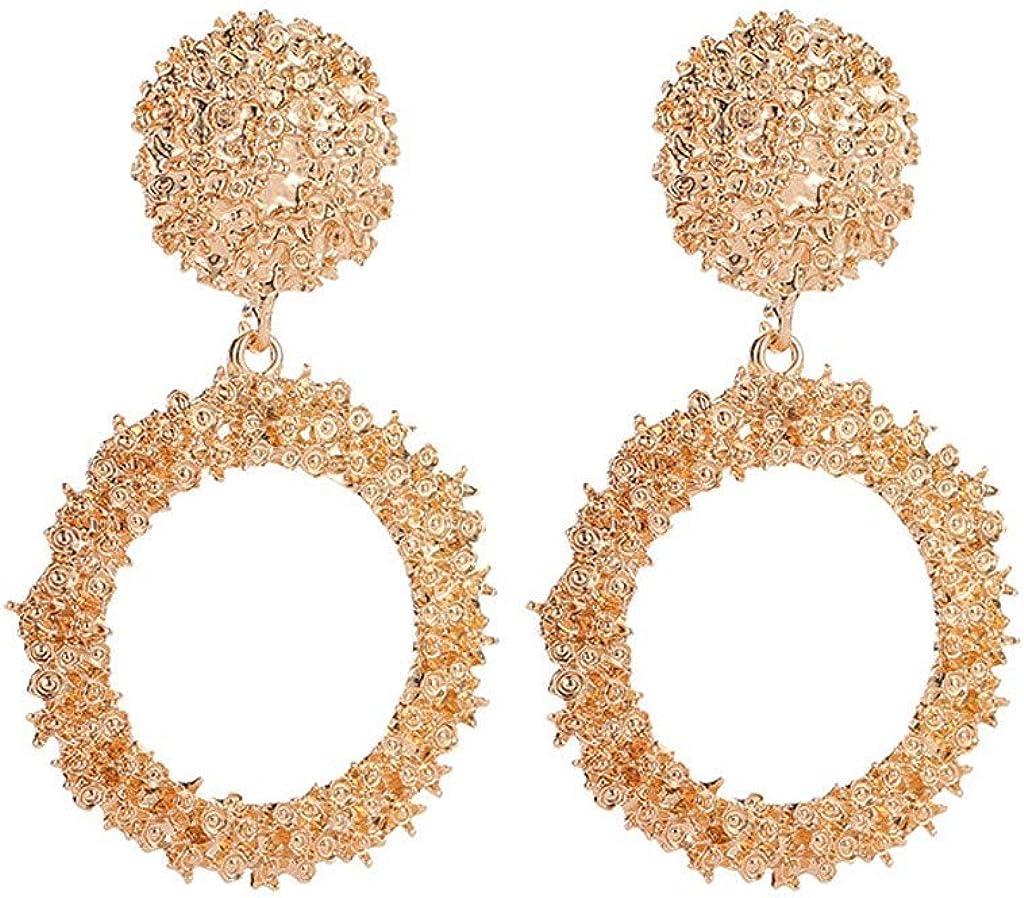 Statement Round Circle Earrings Pearl Women Ear Hoop Dangle Drop Charm Jewelry