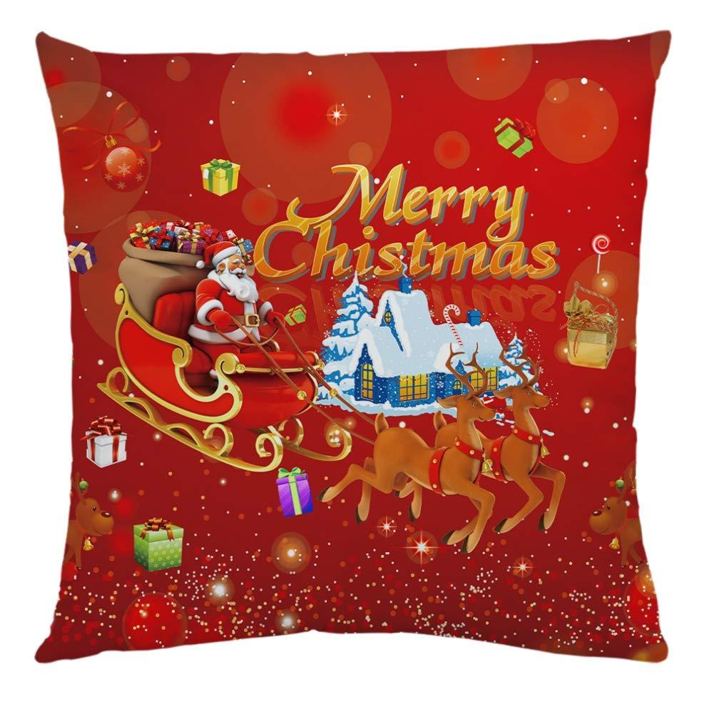 Ardorlove Decorative Pillowcases Christmas Pillow Cover Cotton Linen Print Christmas Lovely Santa Claus Cushion Cover for for Home Office Livingroom Bedroom Car