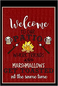 """Welcome to Our Patio Decorative Garden Flag, Double Sided, 12"""" x 18"""" inches, Summer BBQ Deck Banner"""