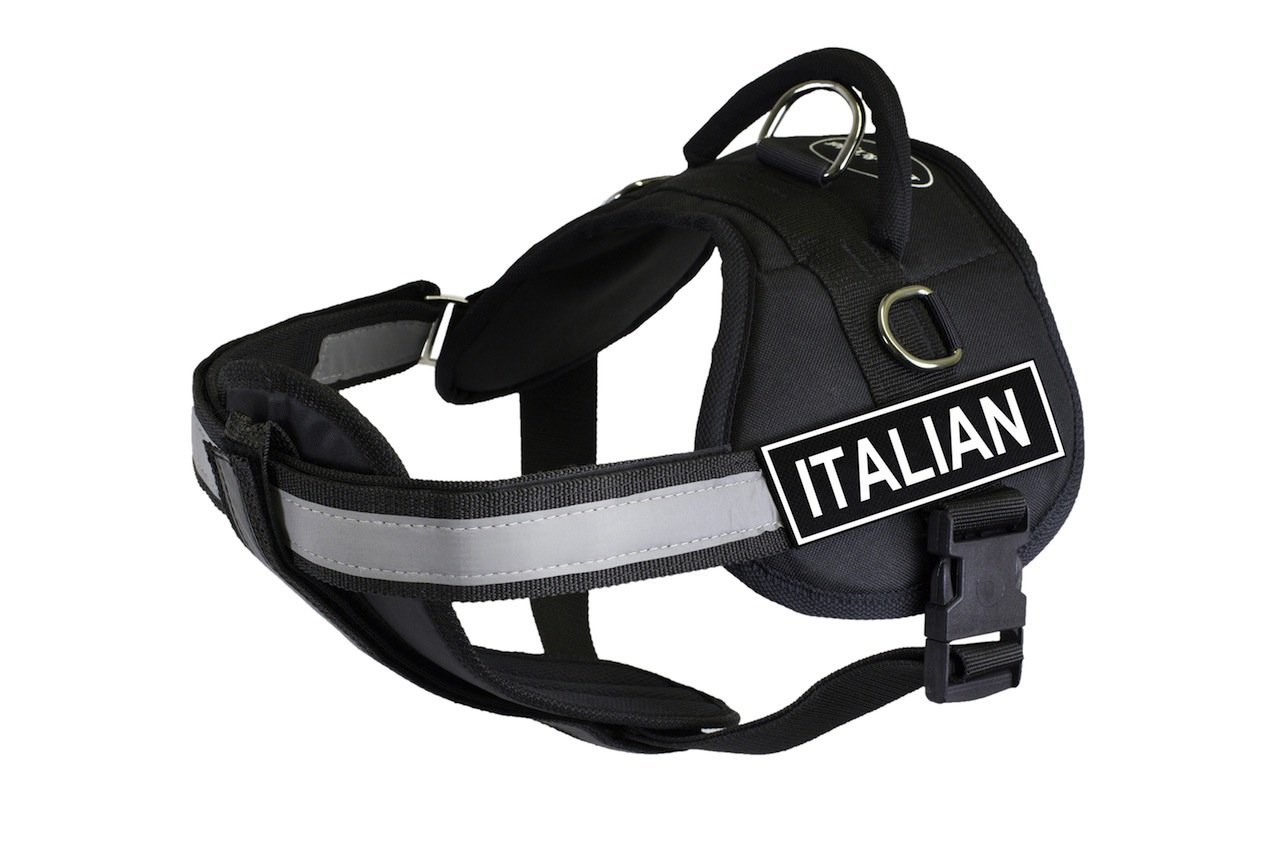 Dean & Tyler 25 to 34-Inch Italian  Works Fun Harness with Padded Reflective Chest Straps, Small, Black