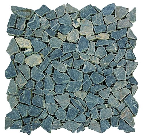 Interlocking Slice Pebble Floor Tiles (5-Pack) Kitchen, Bathroom, and Patio Flooring | Indoor and Outdoor Use | Natural Mojave Desert Stones | Quick and Easy Grout Installation