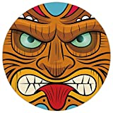 Round Area Rug Mat Rug,Tiki Bar Decor,Cartoon Style Angry Looking Tiki Warrior Mask Colorful Icon Totem Culture Decorative,Multicolor,Home Decor Mat with Non Slip Backing