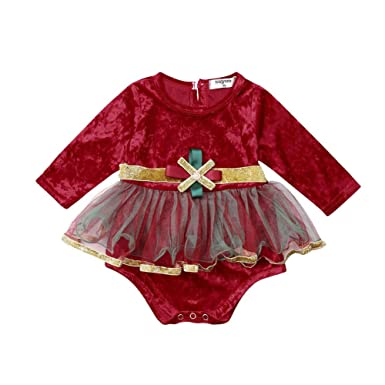 80612528fb2 Newborn Baby Girl Outfit One Piece Long Sleeve Velvet Sequin Tutu Tulle  Romper Dress Clothes 0