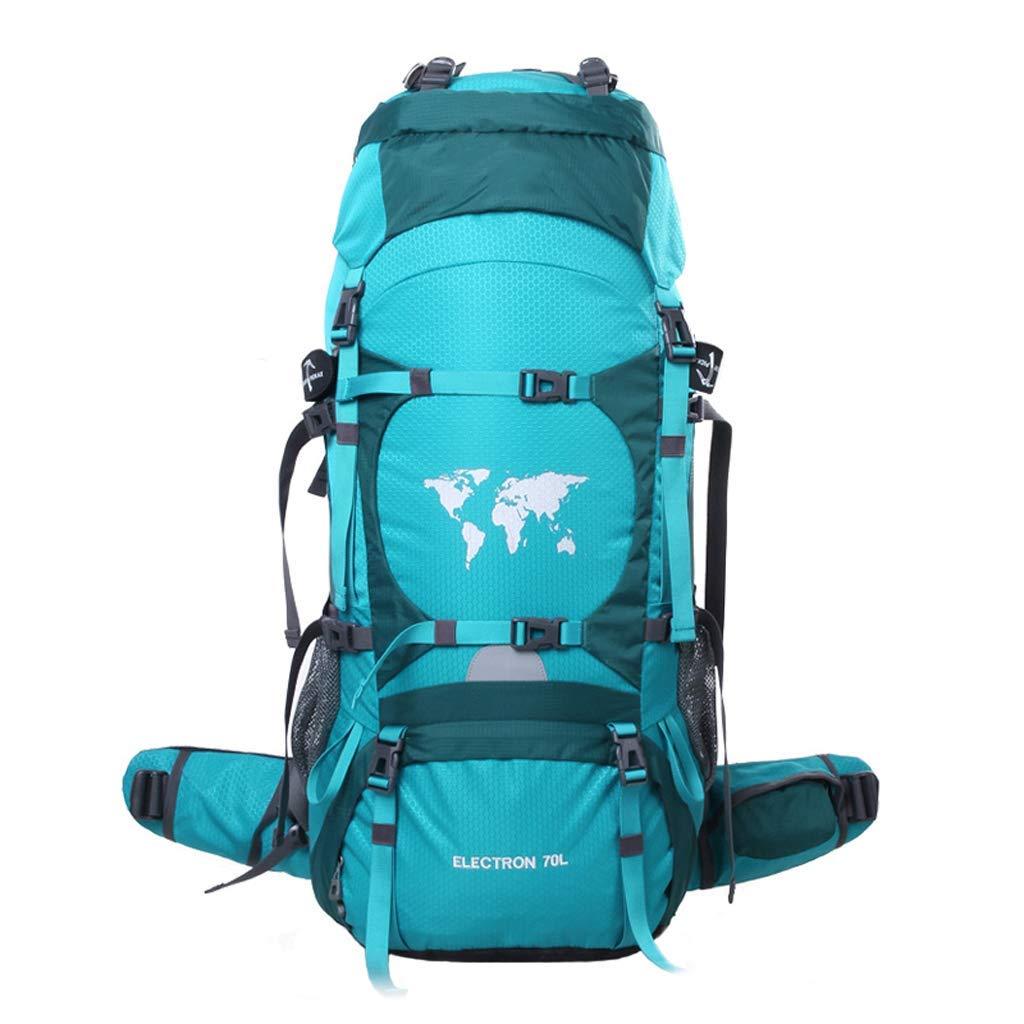 登山バッグハイキングバックパック防水旅行アウトドアバックパック男性と女性の大容量70 L、ハイキング、観光、アウトドア、サイクリング、旅行など (色 : 青) B07P11TYMB 青