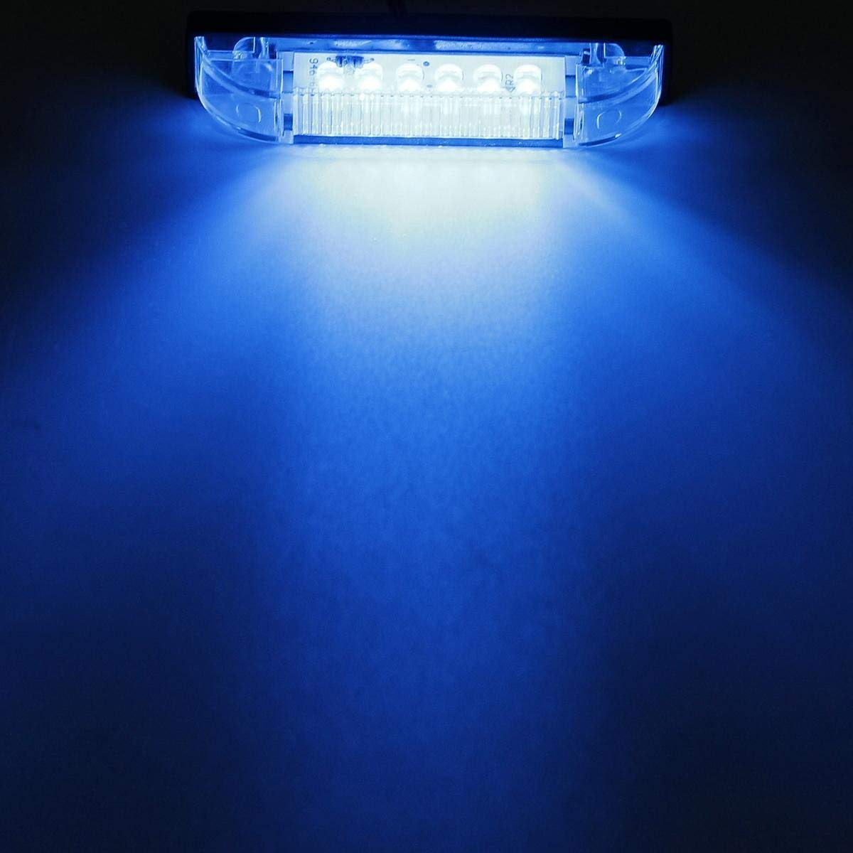 4Pcs 6 Inch Led Utility Strip Light Sealed Waterproof 12 Diodes Clear//Blue Underwater Led Bar Marker Clearance Light for RV Boat Marine Trailer