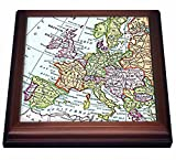 3dRose trv_112938_1 Vintage Map Western Europe-Britain Uk France Spain Italy Etc-Retro Geography Travel Trivet with Ceramic Tile, 8 by 8'', Brown