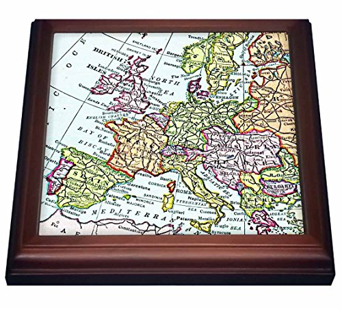 3dRose trv_112938_1 Vintage Map Western Europe-Britain Uk France Spain Italy Etc-Retro Geography Travel Trivet with Ceramic Tile, 8 by 8'', Brown by 3dRose