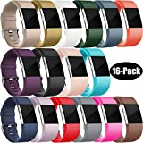 : For Fitbit Charge 2 Bands, Wepro Replacement Bands Strap Wristband with Air Holes for Fitbit Charge 2 HR, 15 Colors, Buckle, Large, Small