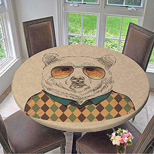 - Mikihome Round Premium Table Cloth Vector of Bear Portrait in Sunglasses and Pullover,Retro Style,Hipster Look Perfect for Indoor, Outdoor 47.5