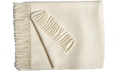 Baumwolldecke Plaid Wolldecke 100/% Baumwolle beige schwarz gewebt 130 x 150 cm