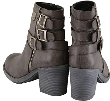 Milwaukee Leather Womens Grey Triple Buckle Platform Booties Round Toe Mbl9406