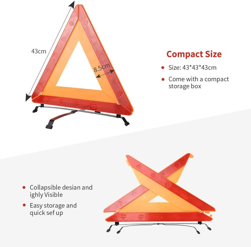 f/ür f/ür jedes KFZ rot reflektierend Dreieck Warxin Auto-Warndreieck zusammenklappbar in Schutzh/ülle aus Kunststoff Stabilit/ät Triangle Base LKW SUV oder Motorrad Pannen//Unf/älle