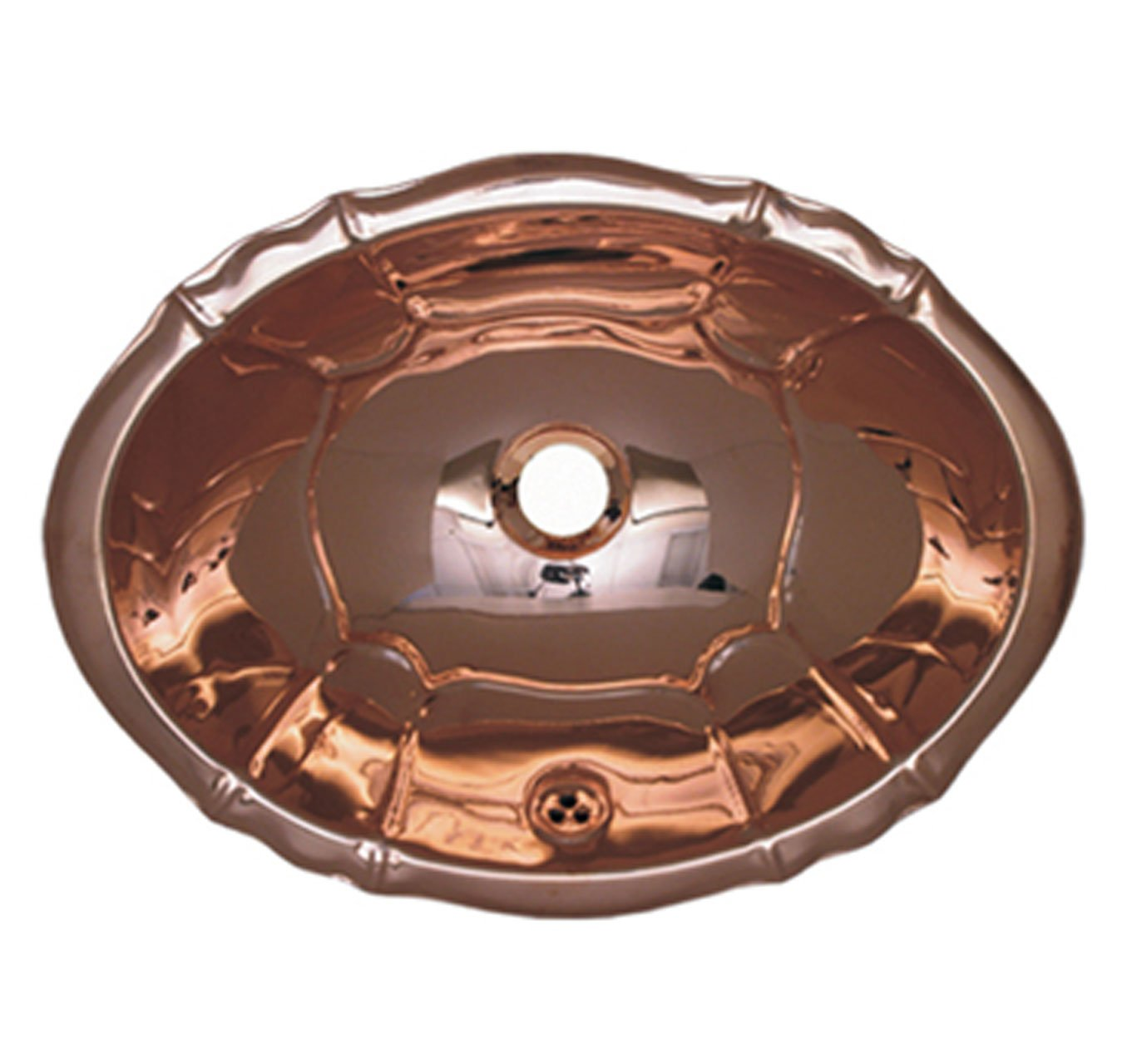Whitehaus WH612CBL-PCO Fluted Design Drop-In Basin with Overflow, Polished Copper