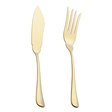 2 Piece Fish Serving Fork and Fish Serving Knife 10-inch Stainless Steel Large Table Flatware set Dishwasher Safe for Buffet, Banquet, Party (Gold)