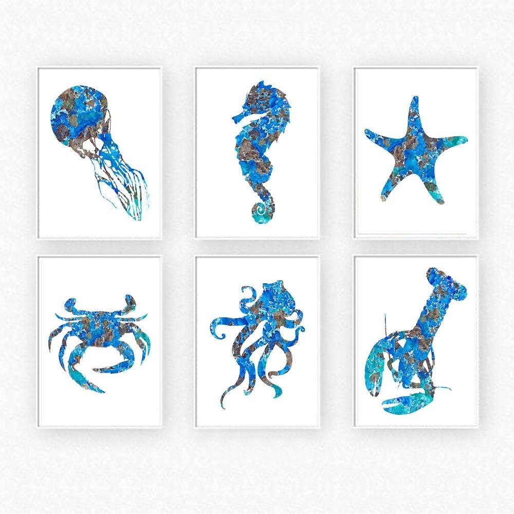 HNZKly Pulpo NáUtico Vintage Poster E Impresiones Azul Kraken Pulpo Mar Caballo Lienzo Pinturas Cuadro RúStico Dormitorio Pared Arte Decoracion 40x60cmx6 / Sin Marco
