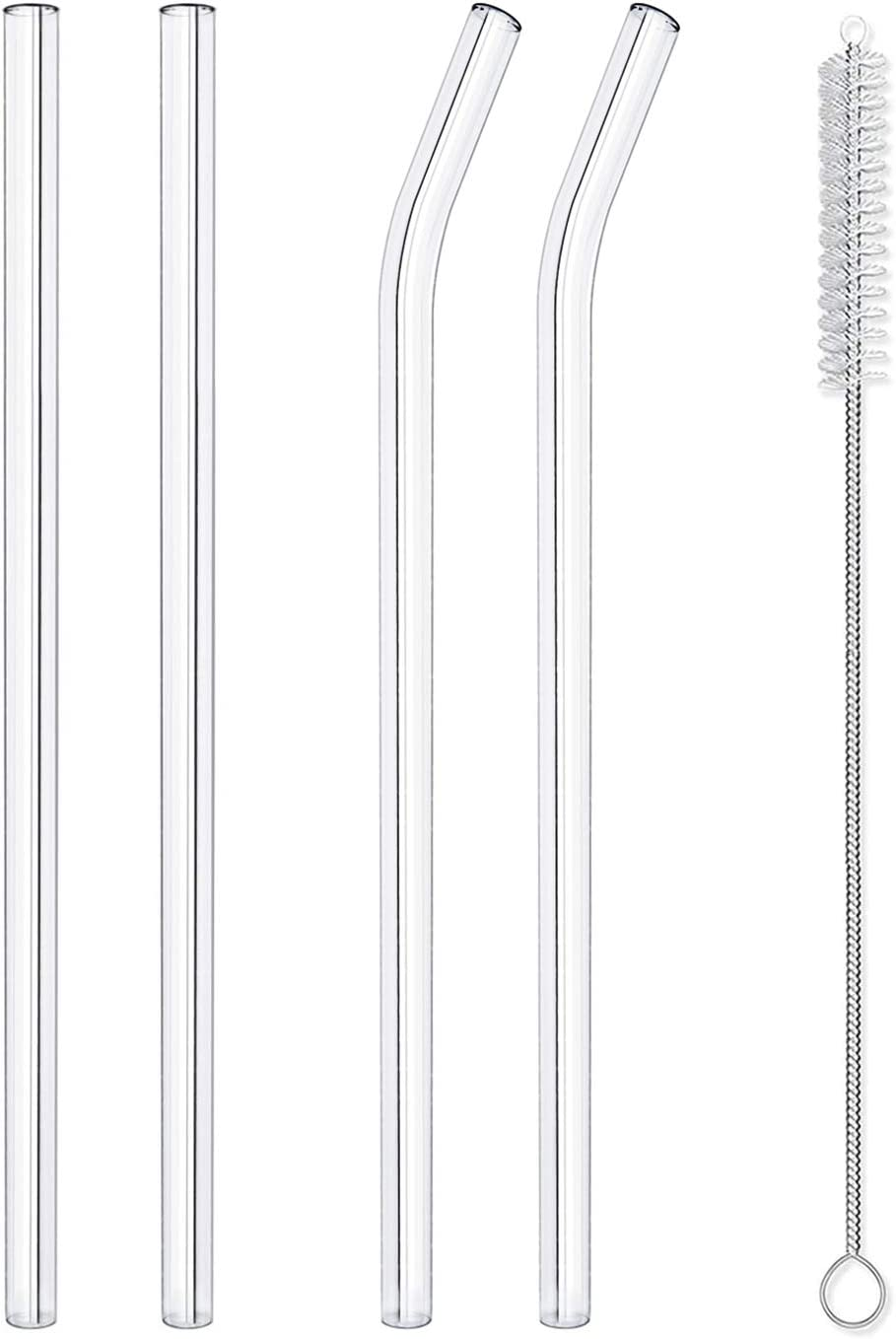 "Hiware Reusable Glass Straws Set, 4-piece Drinking Staws with Cleaning Brush, 10"" x 10 mm, Dishwasher Safe"