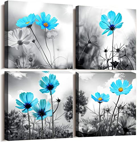 4 piece Modern Salon Theme Black and White Plant Blue Flower Abstract Painting Still Life Canvas Wall Art