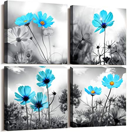 Amazon Com 4pcs Modern Salon Theme Black And White Plant The Blue Flower Flower Abstract Painting Still Life Canvas Wall Art For Bedroom Home Decor Flower Canvas Print Painting For Living Room Decor