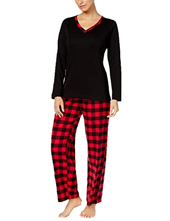 77e1dfd09efed Image Unavailable. Image not available for. Color  Charter Club Flannel Mix  It Top   Printed Pants Pajama Set.