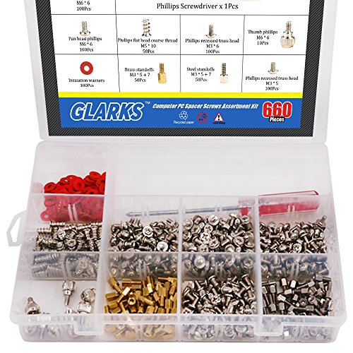 - Glarks 660-Pieces Phillips Head Computer PC Spacer Screws Assortment Kit Hard Drive Computer Case Motherboard fan power graphics (Extra: Phillips Screwdriver)
