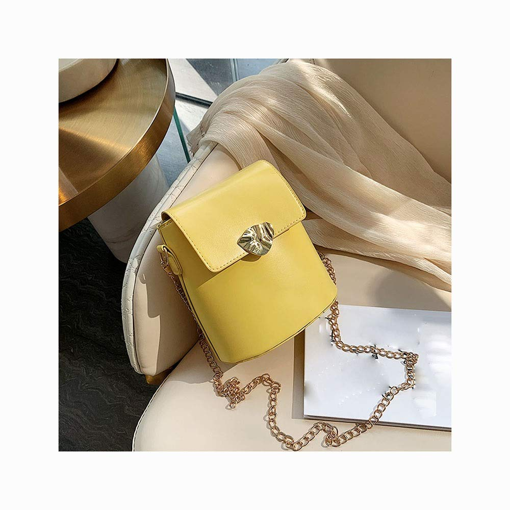 Color : White SXCLS Mini Bucket Bag Female Fashion Chain Small Bag Foreign Gas Messenger Bag