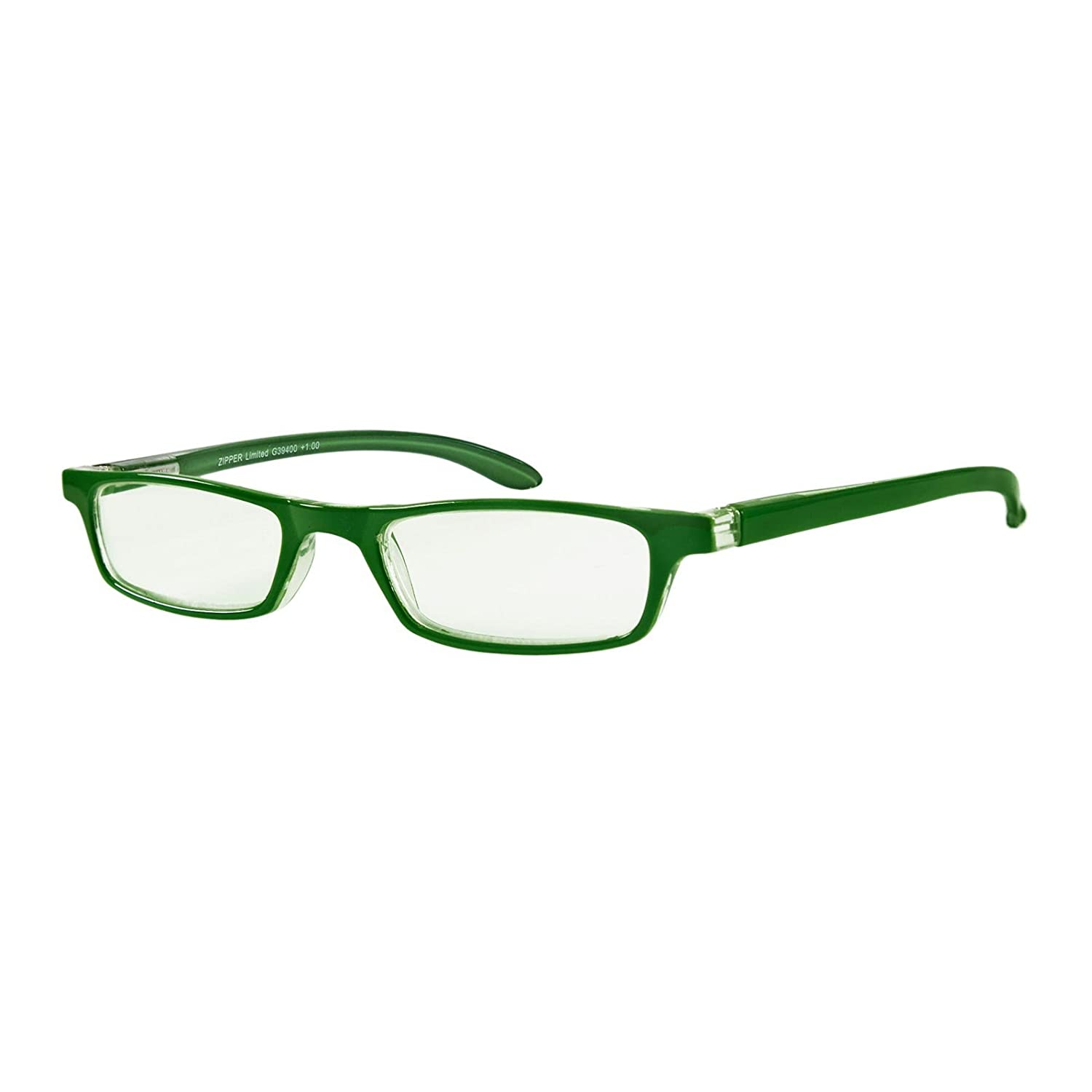 c868d3af3bb8 Amazon.com  I NEED YOU Rectangular Zipper Limited Reading Eyeglasses Green  Designer Frame For Men   Women With Spring Hinge   Plastic Lenses -  Prescription ...