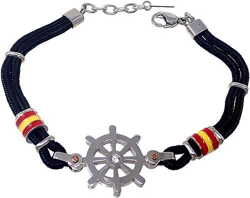 Pulsera acero 20.5cm bandera España timón negra cordón [AB7219]: Amazon.es: Joyería