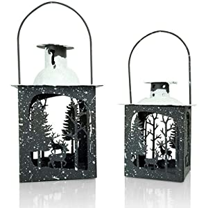 BANBERRY DESIGNS Rustic Christmas Décor Lantern Set – Set of 2 - Small and Medium Metal Lanterns - Winter Scene with Deer – Glittery Snow Tops - Farmhouse Style Lanterns