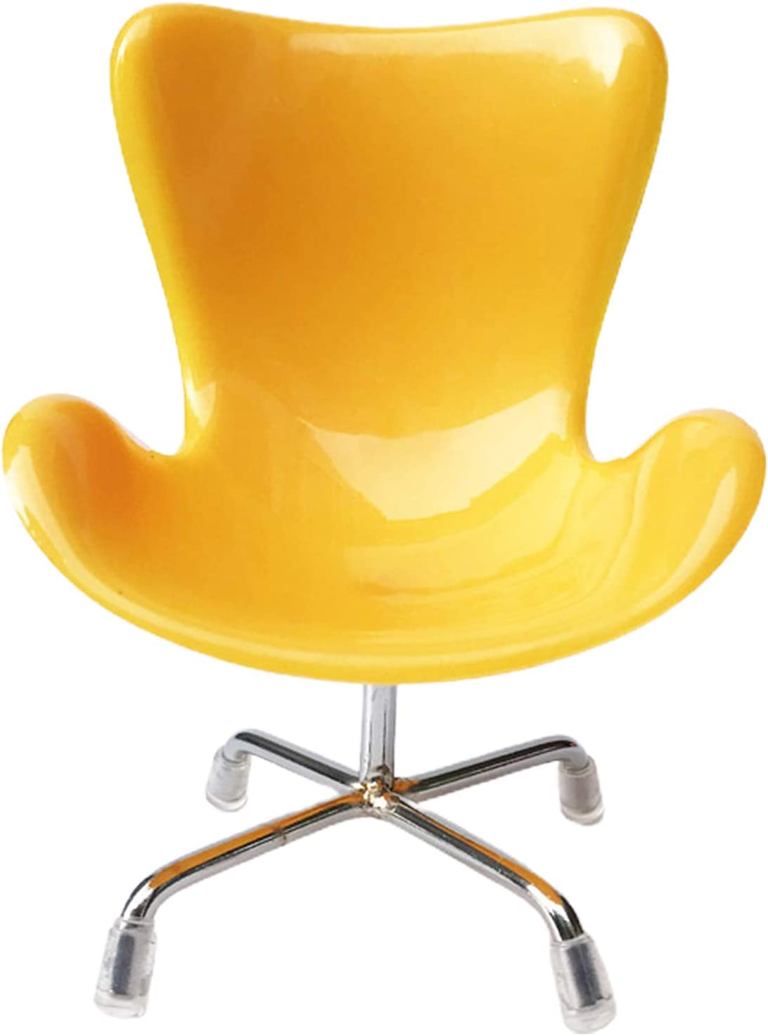 BARMI Miniature Plastic Swan Chair Mold Furniture Living Room Decor for 1/6 Doll House,Perfect DIY Dollhouse Toy Gift Set Yellow