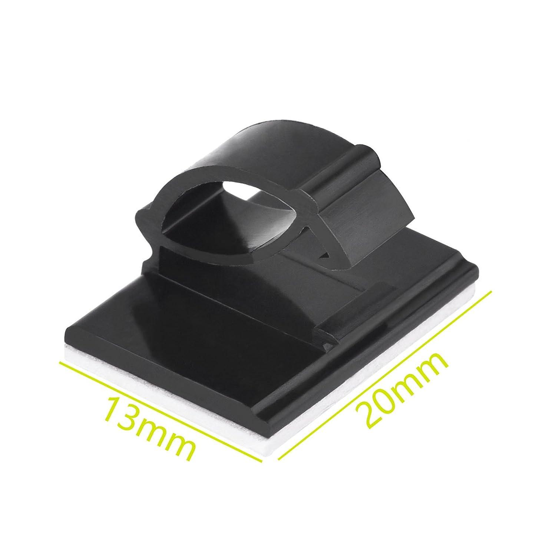 ENET 30/St/ück Draht Kabel-Clips Selbstklebend Kabelbinder Rechteck Kabelhalter Schwarz