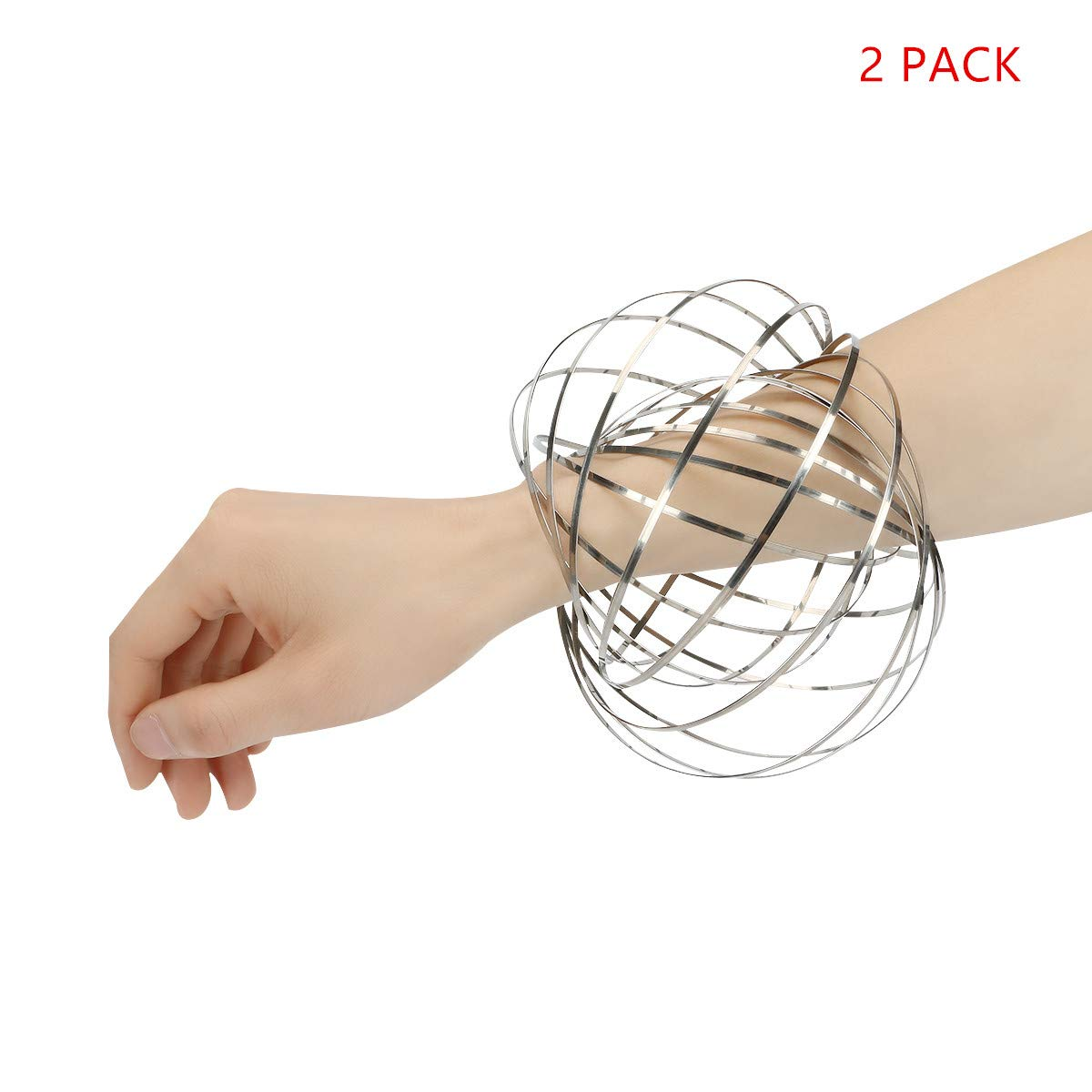 Flow Ring Toy, Kinetic Educational Spring Toy with Multi-Sensory, Interactive, 3D-Shaped Flow Ring ,2 Packs,Sliver
