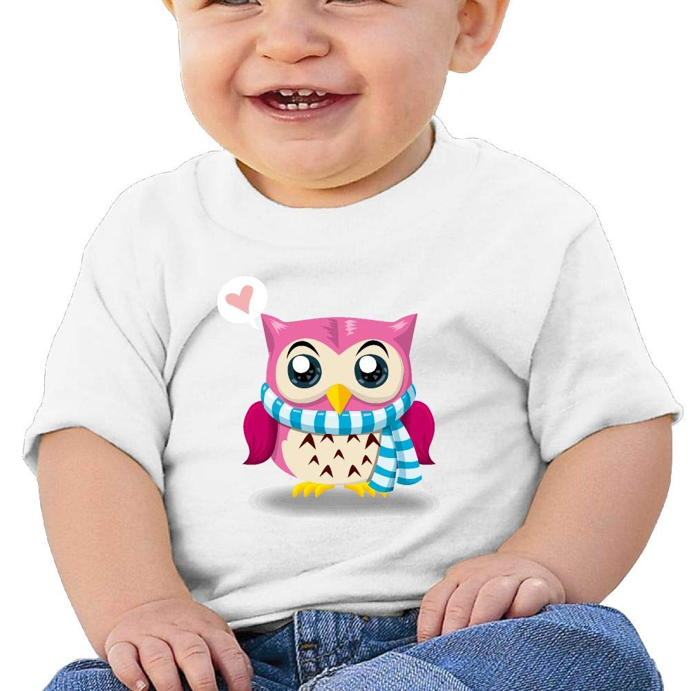 BuecoutesCartoon Owl Toddler//Infant Short Sleeve Cotton T Shirts White