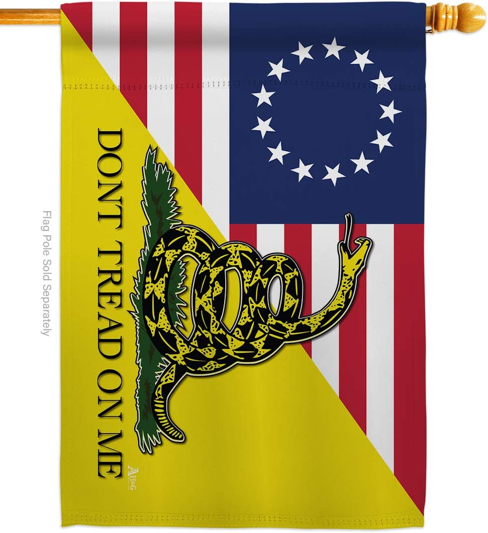 Historic Betsy Ross Don't Tread On Me House Flag Patriotic July Memorial Veteran Independence United State American Small Decorative Gift Yard Banner Double-Sided Made in USA 28 X 40