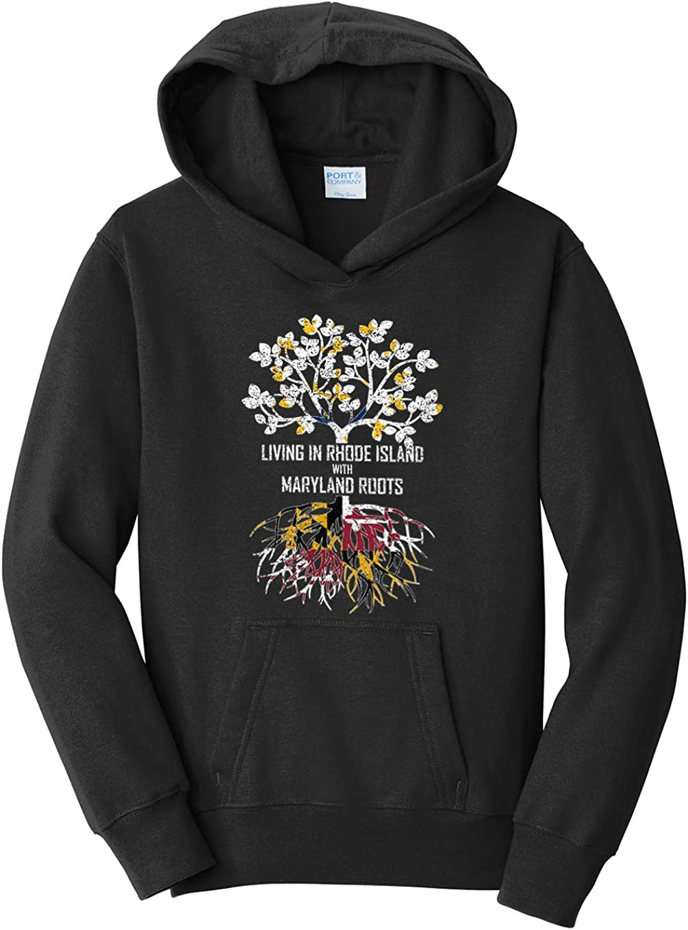 Tenacitee Girls Living in Rhode Island with Maryland Roots Hooded Sweatshirt