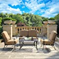 DOMI OUTDOOR LIVING Patio Furniture Dining Set 4 Piece Cast Aluminum Patio Furniture Conversation Set with Cushions and Coffee Table