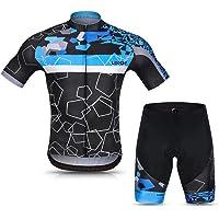 Lixada Men Cycling Jersey Set Breathable Quick-Dry Short Sleeve Biking Shirt and Gel Padded Shorts MTB Cycling Outfit…
