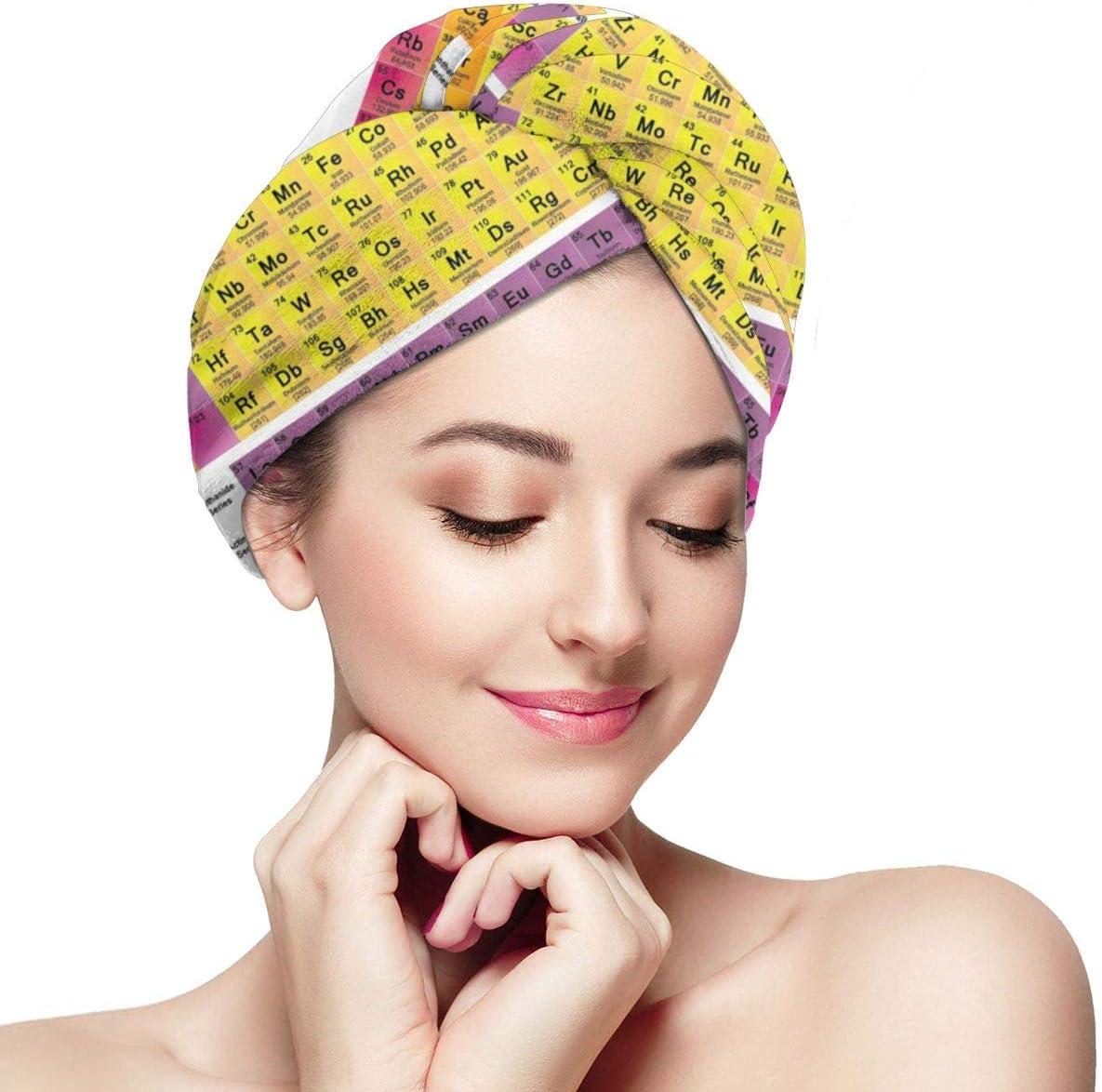 Tabla periódica Toalla de pelo Envoltura de turbante Microfibra, Secado de cabello Toallas Secado rápido Sombrero de pelo Secado