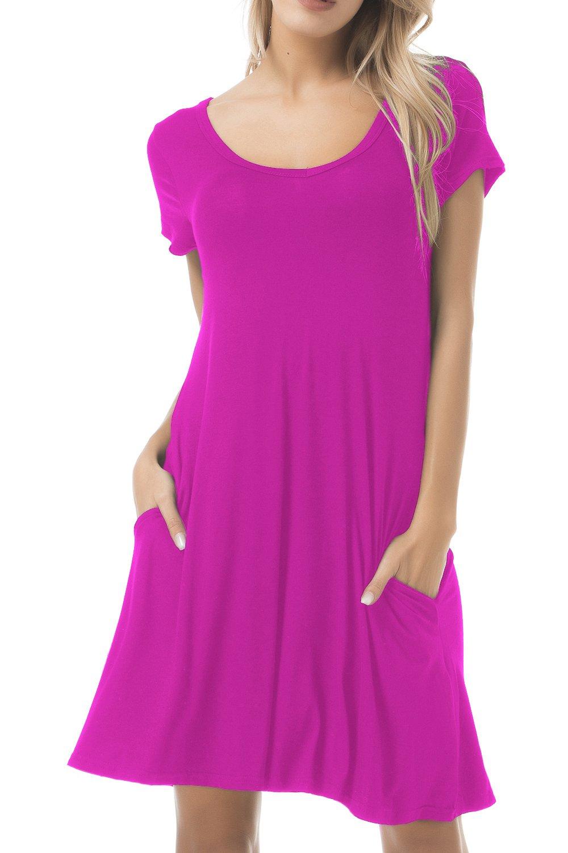 FISOUL Women's Casual Midi Dress Short Sleeve Swing Dress Flowy Plain Simple Soft T-Shirt Loose Dress with Pocket Red L