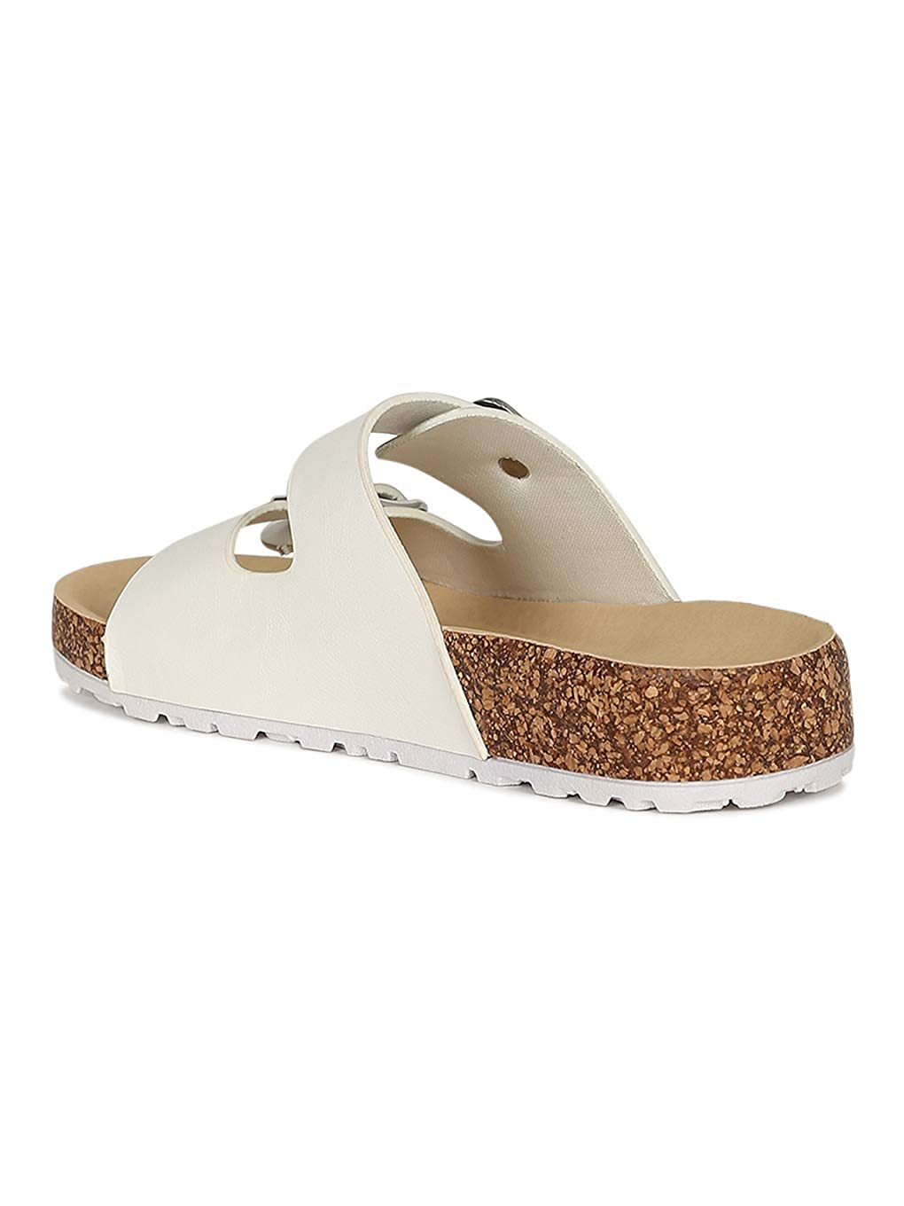 Alrisco Women Leatherette Open Toe Buckled Cork Footbed Slide Sandal RG57